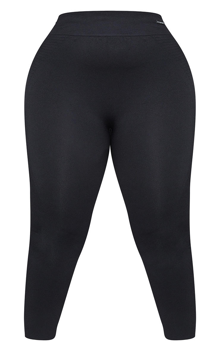 Plus Black Seamless Rib Waist Gym Leggings 5