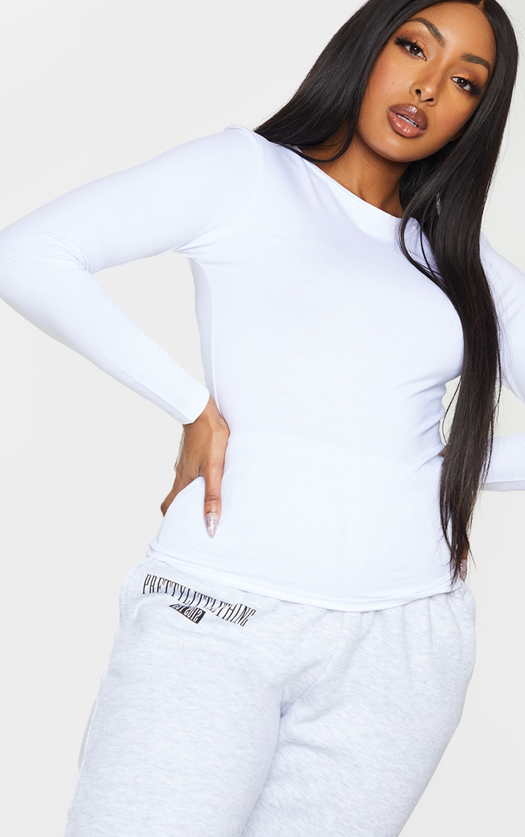 Basic White Cotton Blend Long Sleeve Fitted T Shirt 4