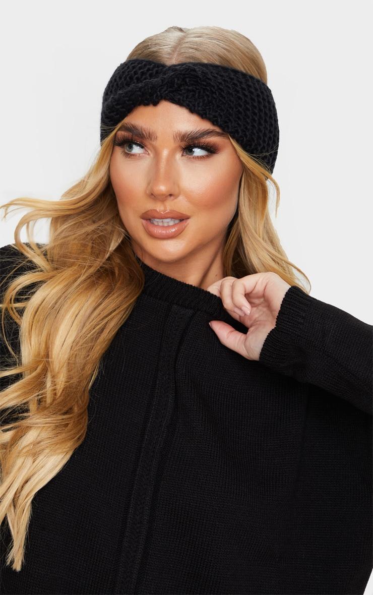 Black Knit Knotted Headband 1