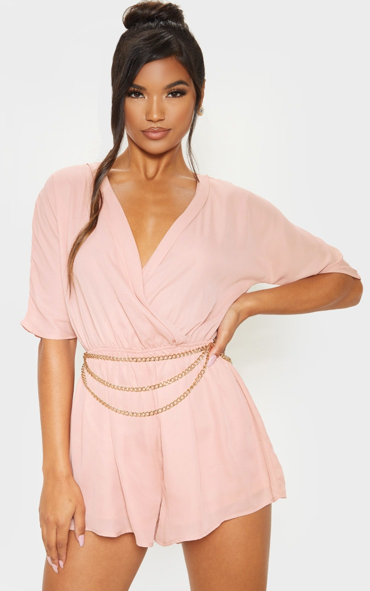 Bobby Nude Wrap Front Romper 1