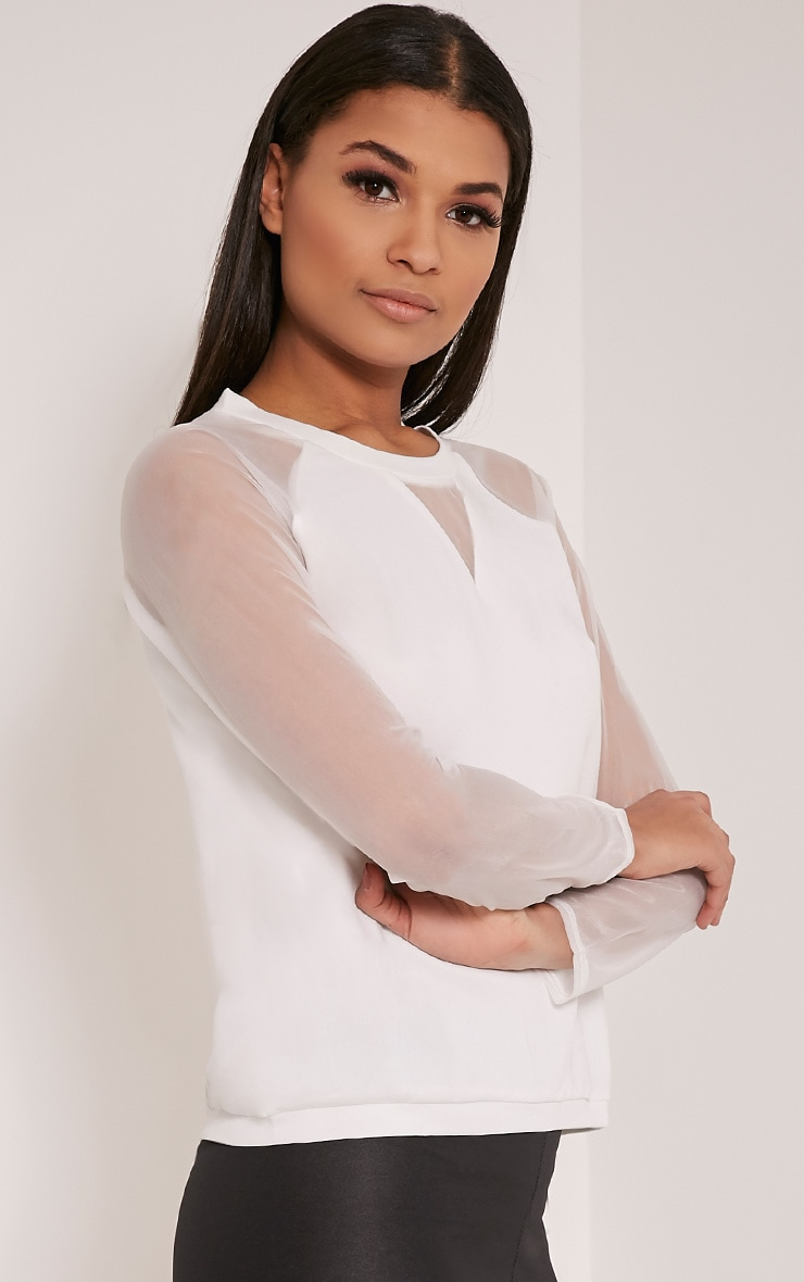 Nicola White Mesh Panel Sweatshirt 4