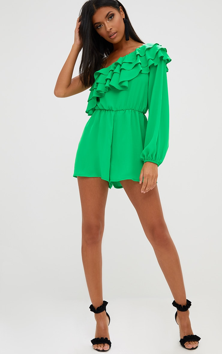 Green Ruffle One Shoulder Playsuit 1