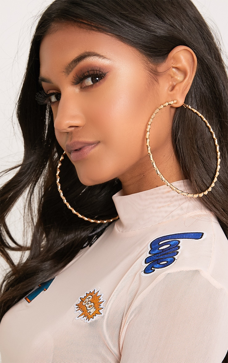 Brynn Gold Big Twisted Metal Hoop Earrings