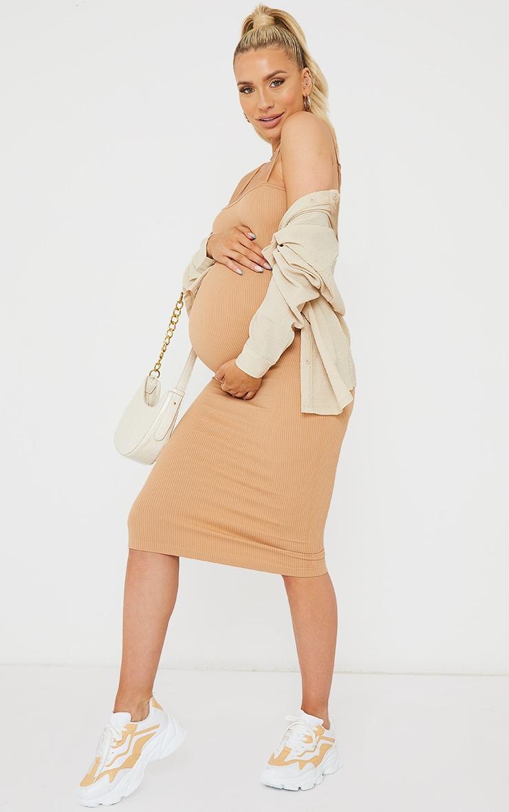 Maternity Camel Contour Ribbed Strappy Midi Dress 3