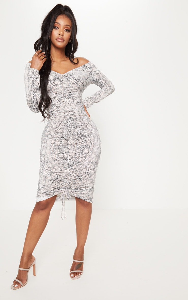 Shape Taupe Snake Print Slinky Ruched Bardot Midi Dress 4
