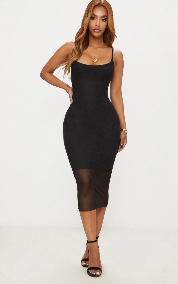 Black Shape Mesh Strappy Midi Dress 1