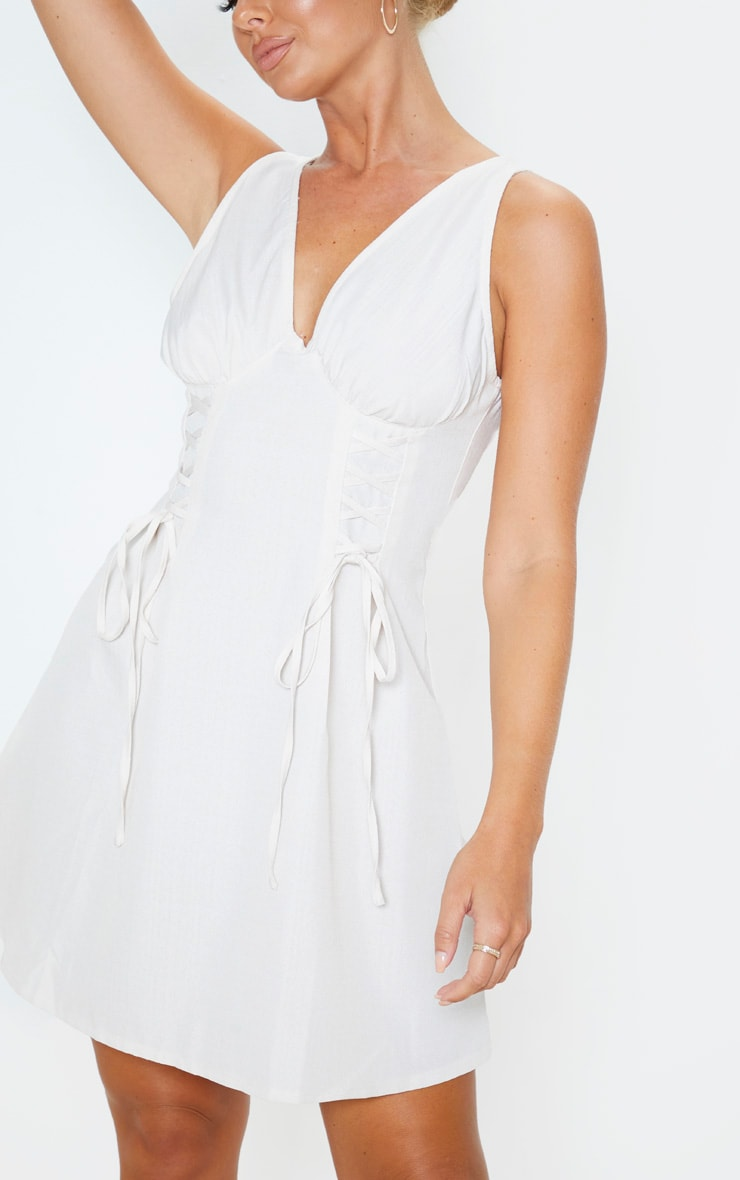 Stone Woven Lace Up Cup Detail Shift Dress 5
