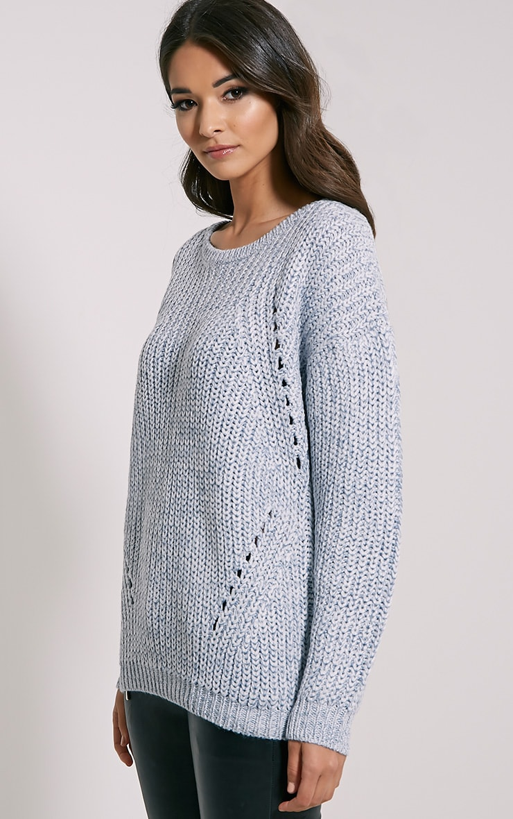 Frida Pale Blue Heavy Weight Knitted Jumper 4