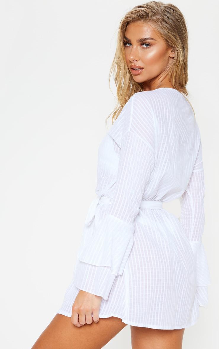 White Check Linen Look Tie Waist Frill Beach Dress 2