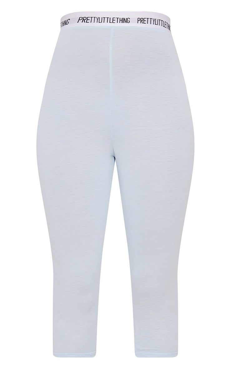 PRETTYLITTLETHING Baby Blue Jersey Cropped Leggings 4