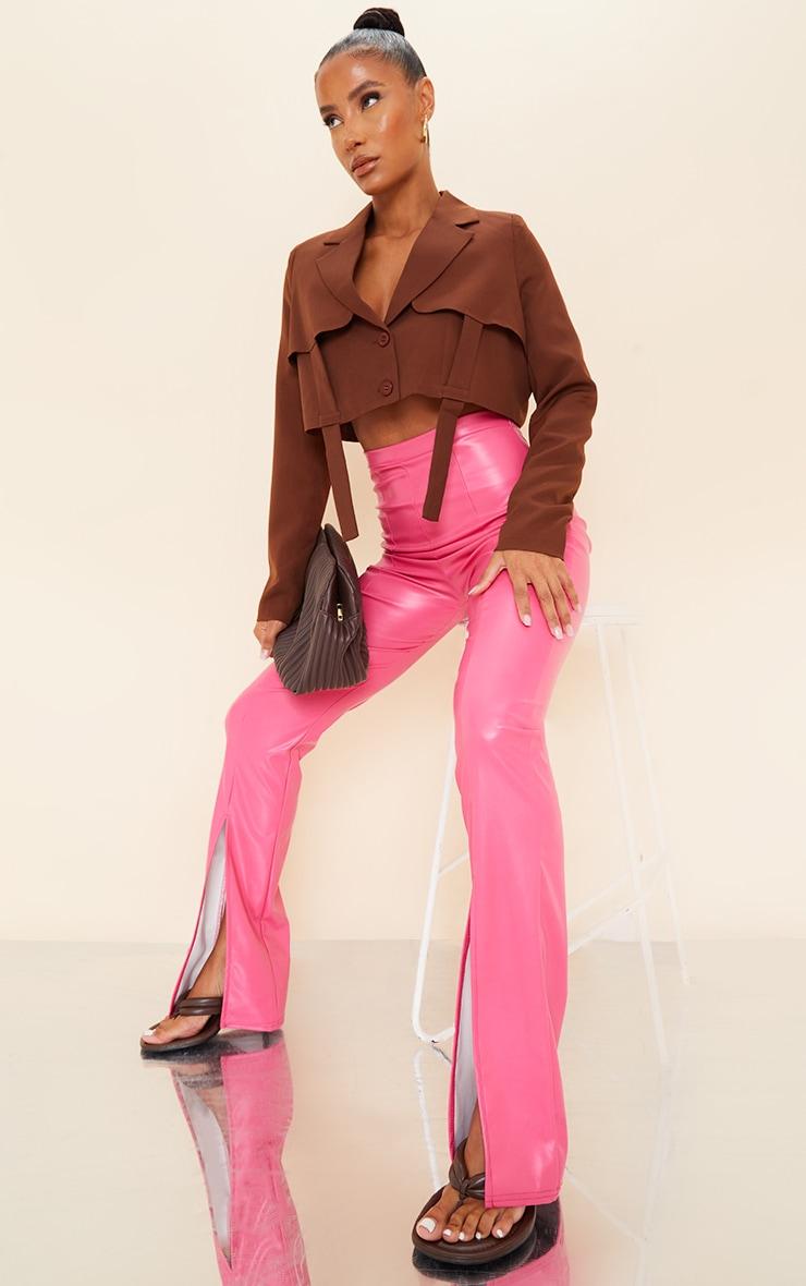 Hot Pink Faux Leather Split Hem Pants 1