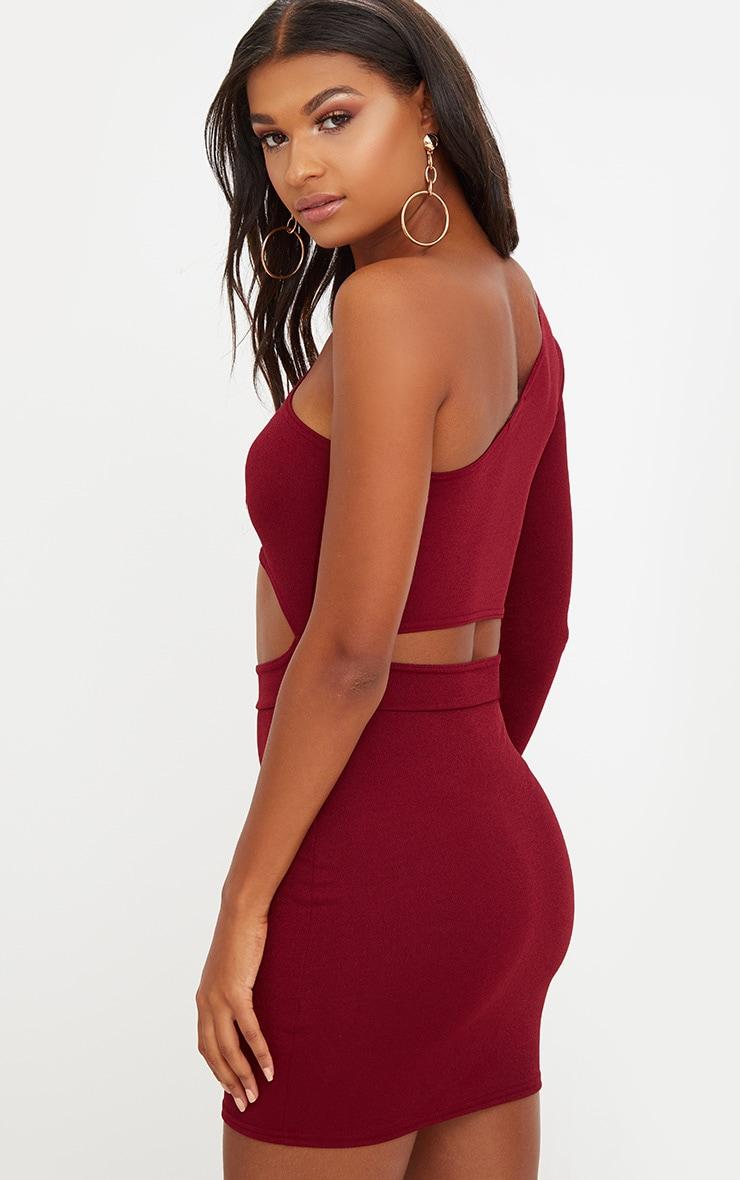 Berry Asymmetric Cut Out Detail Bodycon Dress 2