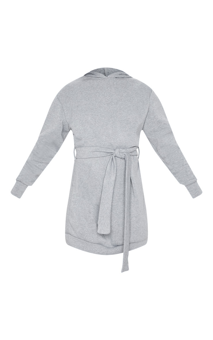Grey Tie Waist Detail Long Sleeve Hoodie Sweater Dress 3