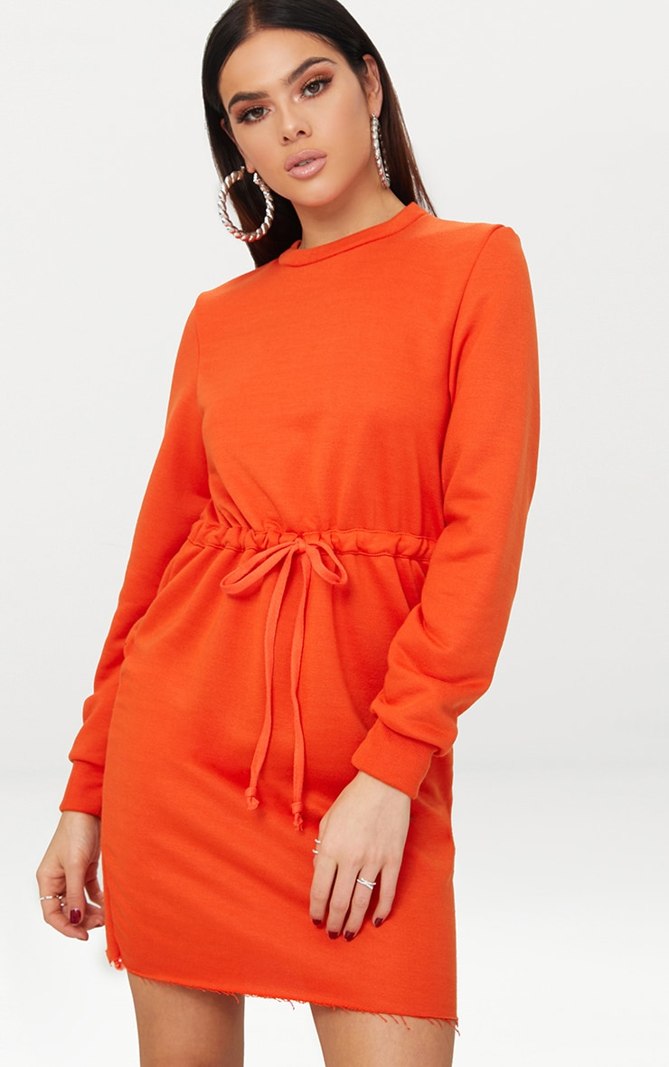 Bright Orange Tie Waist Sweater Dress 1