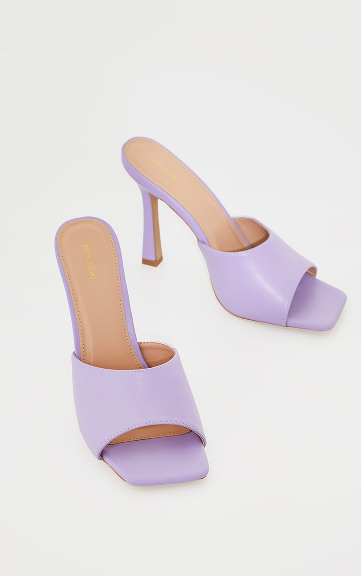 Lilac Square Toe Mule High Heels 3