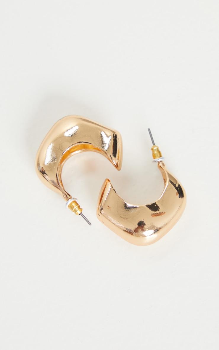 Gold Chunky Square Hoop Earrings 4