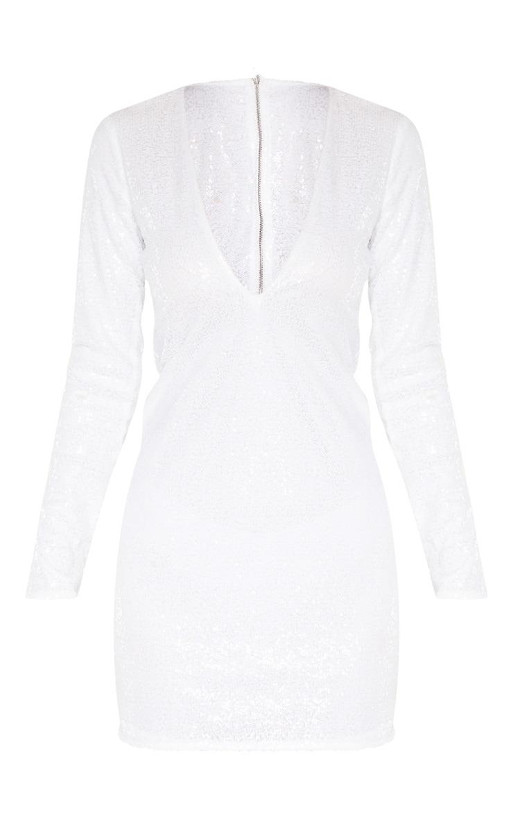 Tall White Deep V Long Sleeved Sequin Dress 3