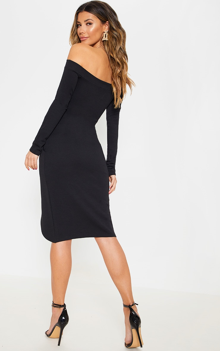 Black Long Sleeve Bardot Wrap Midi Dress 2