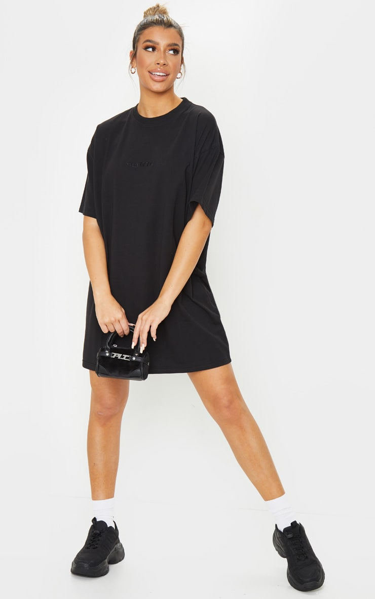 Black Self Made Slogan Boyfriend T Shirt Dress 3