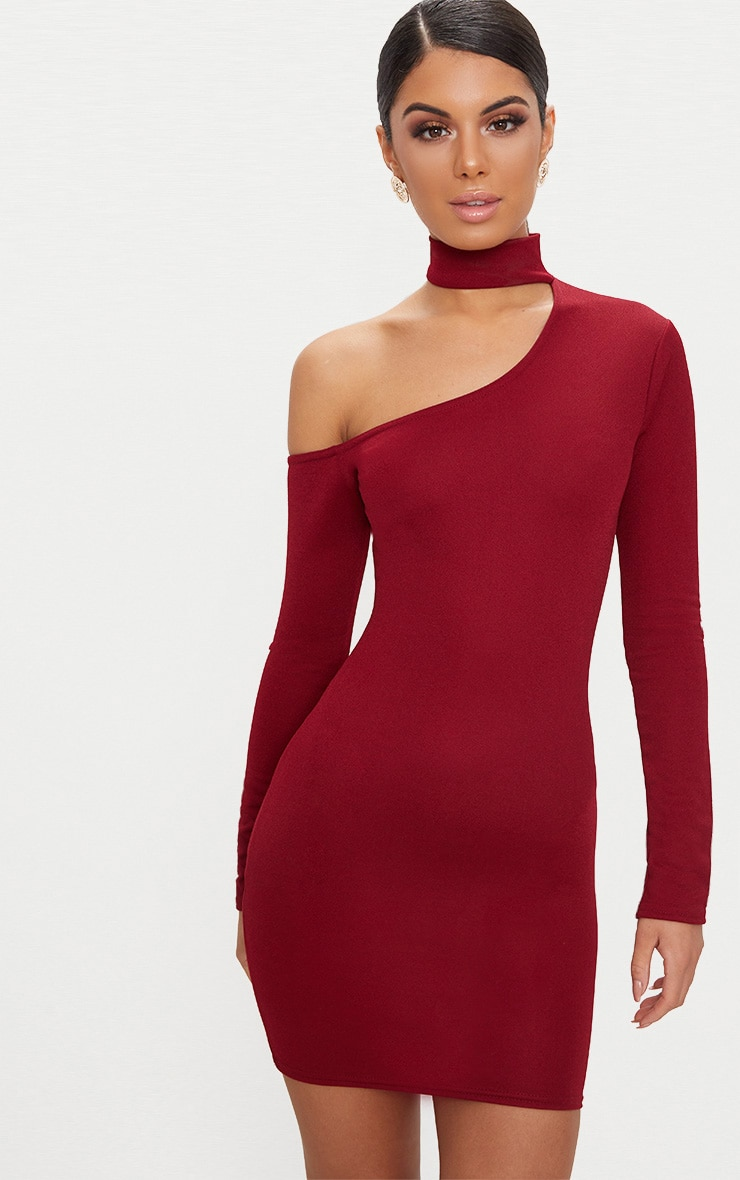 Burgundy Choker Detail One Shoulder Bodycon Dress 1