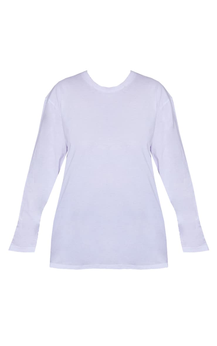 Plus White Long Sleeve Oversized Boyfriend T Shirt 5