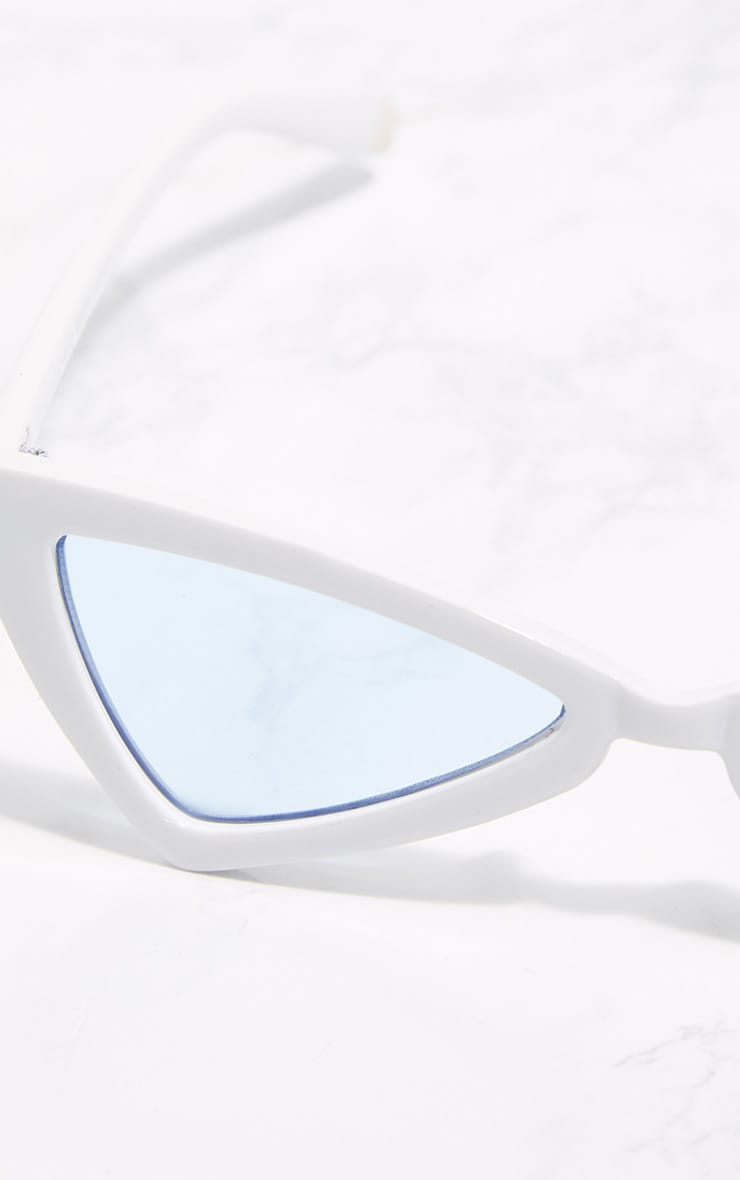 White Triangle Blue Lens Sunglasses 4