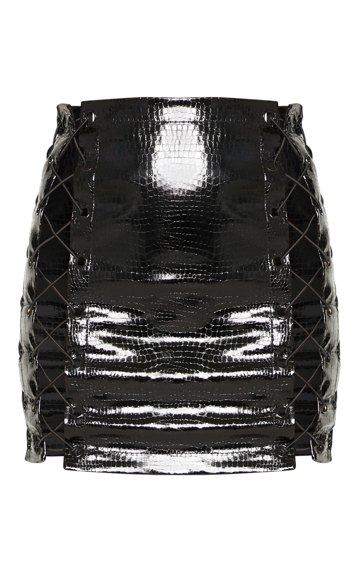 Black Croc Vinyl Extreme Lace Up Mini Skirt 3