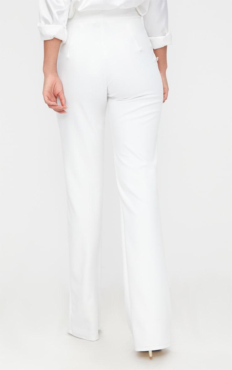 pantalon blanc taille haute boutons style militaire. Black Bedroom Furniture Sets. Home Design Ideas
