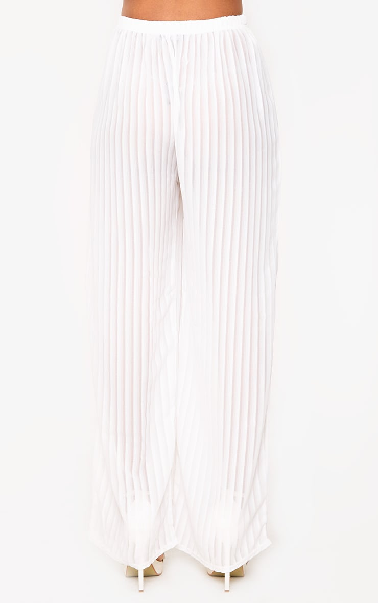 White Stripe Chiffon Beach Trousers  3