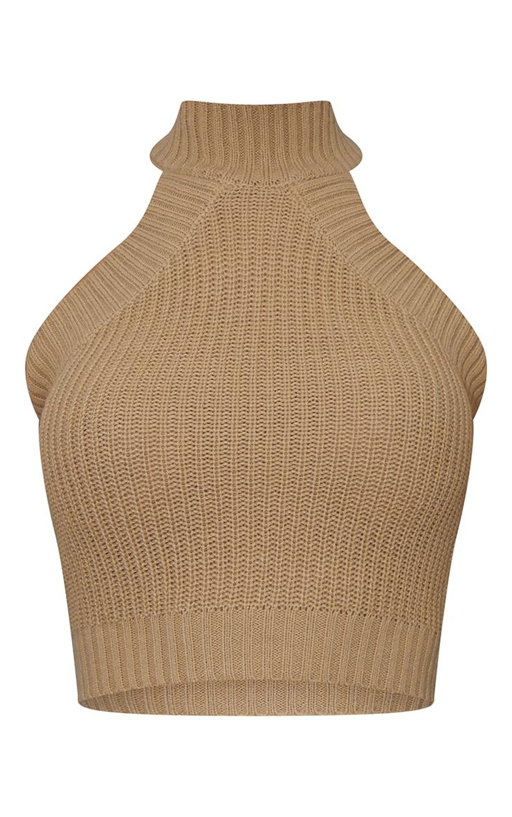 Camel High Neck Knitted Vest 5