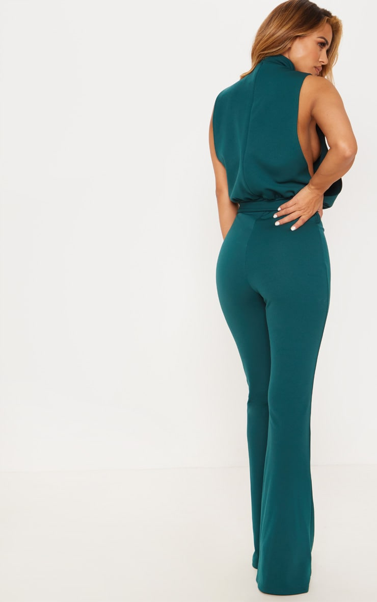 Petite Emerald Green Scuba High Neck Tie Waist Jumpsuit 2