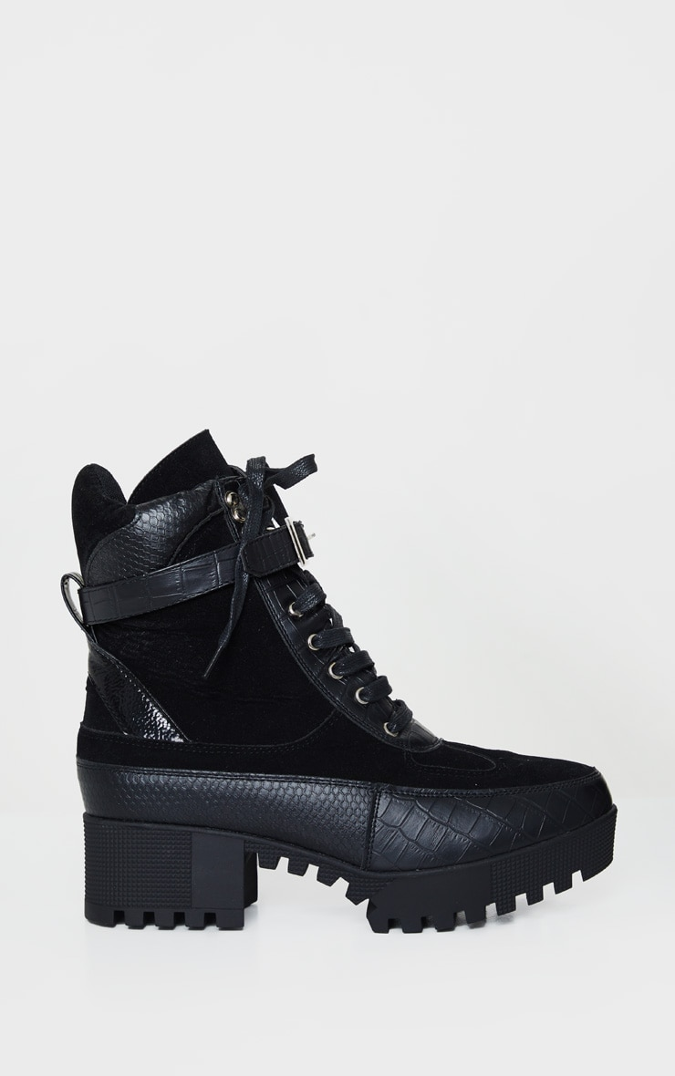 Black Croc Detailed Cleated Hiker Boot 4