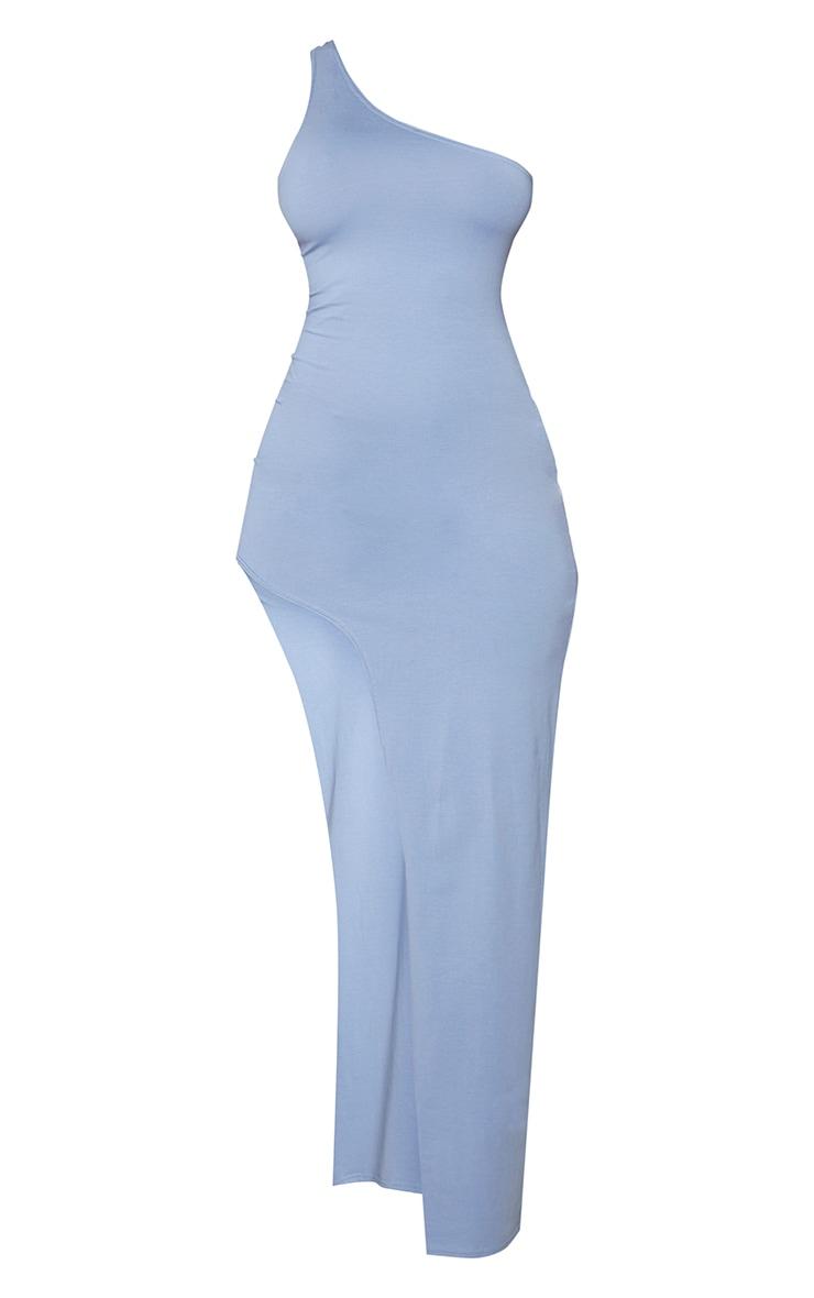 Shape Dusty Blue Cotton One Shoulder Split Maxi Dress 5