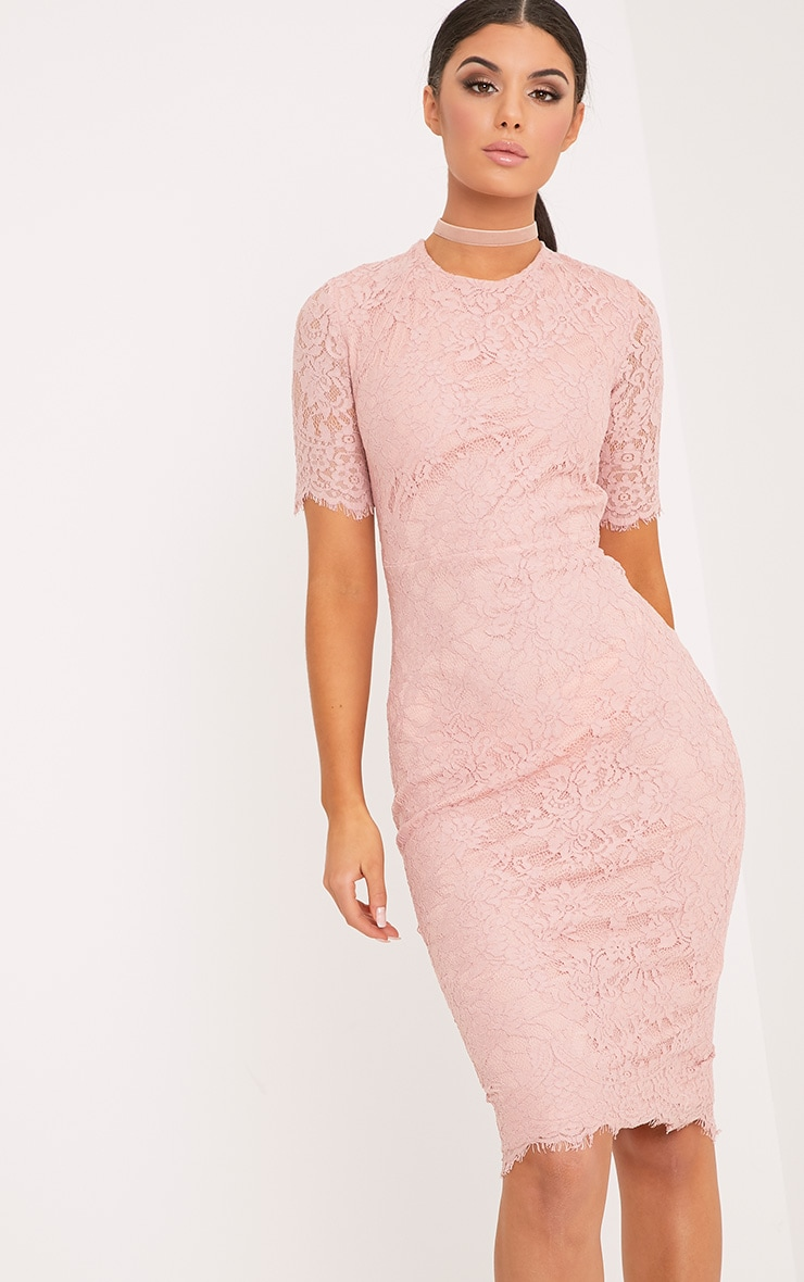 Frankie Dusty Pink Lace Tie Back Midi Dress 1