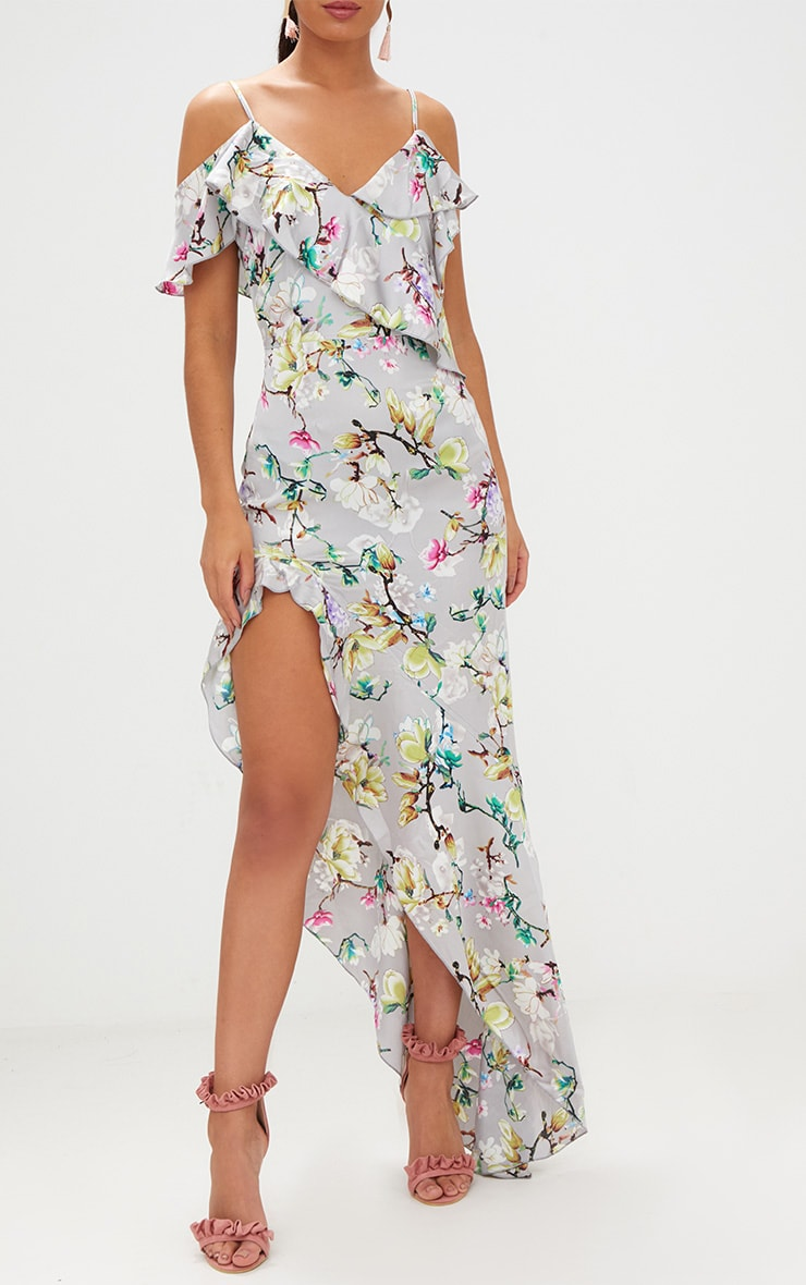 Grey Floral Satin Asymmetric Hem Maxi Dress 5