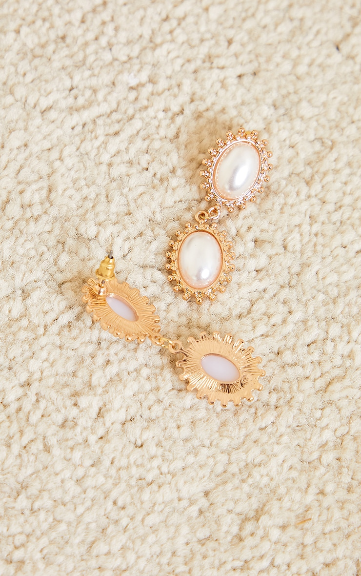 Gold Double Pearl Earrings 3