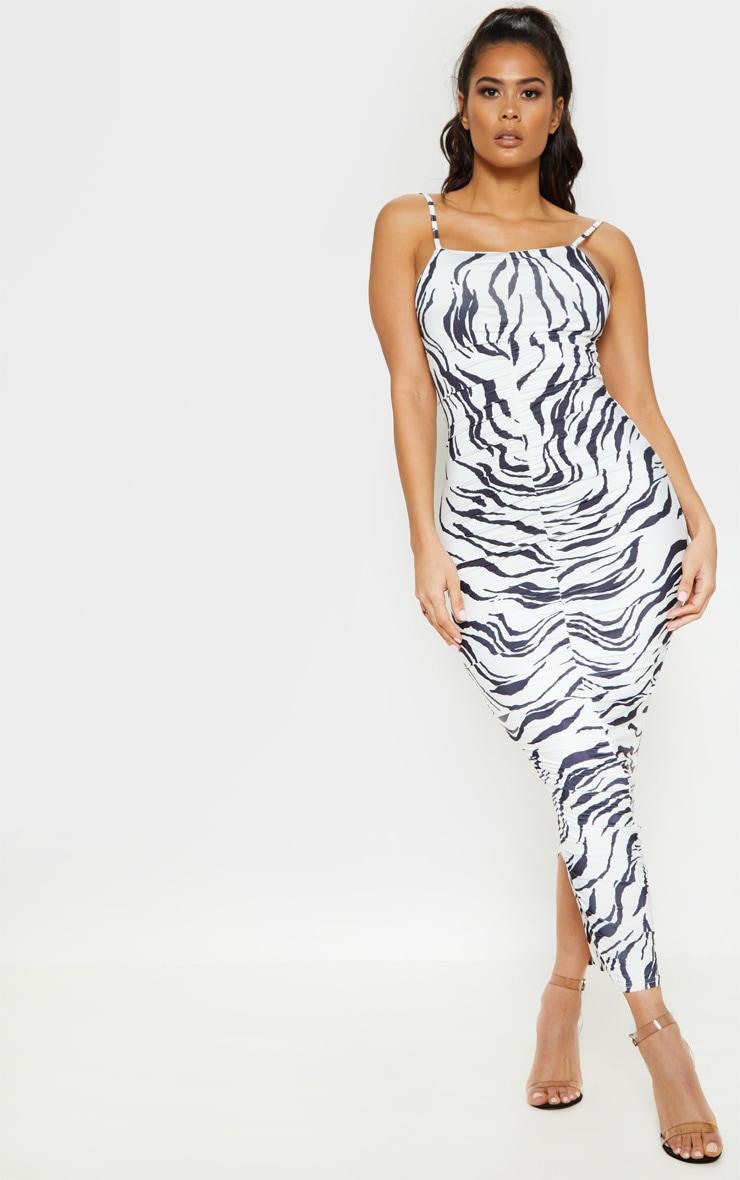Monochrome Zebra Print Ruched Front Midaxi Dress 1