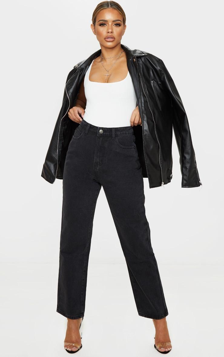 PRETTYLITTLETHING Petite Black Straight Leg Jeans 1
