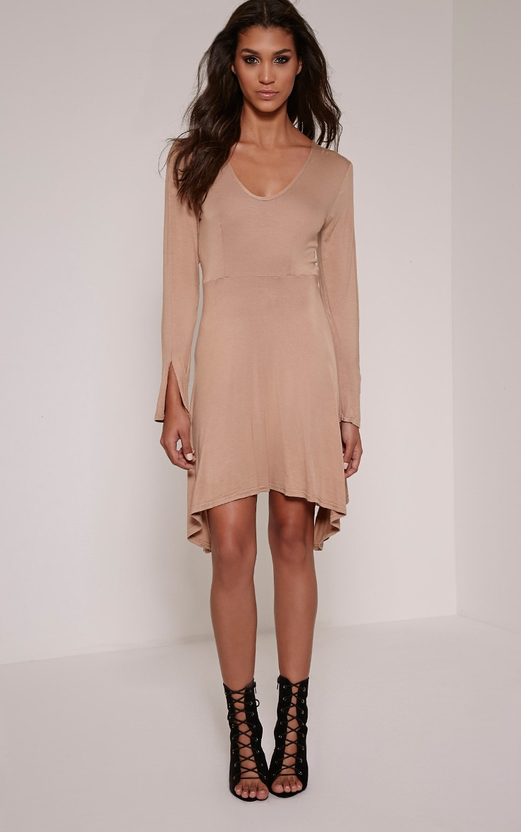 Basic Camel Long Sleeve Drop Hem Skater Dress 4
