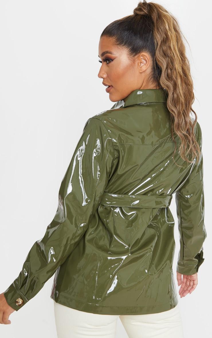 Olive Khaki Vinyl Belted Oversized Jacket 2
