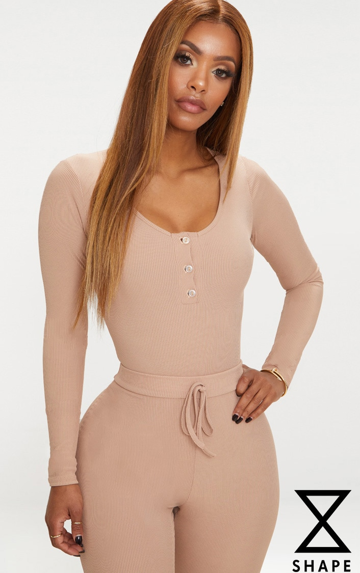 Shape Stone Ribbed Long Sleeve Bodysuit 1