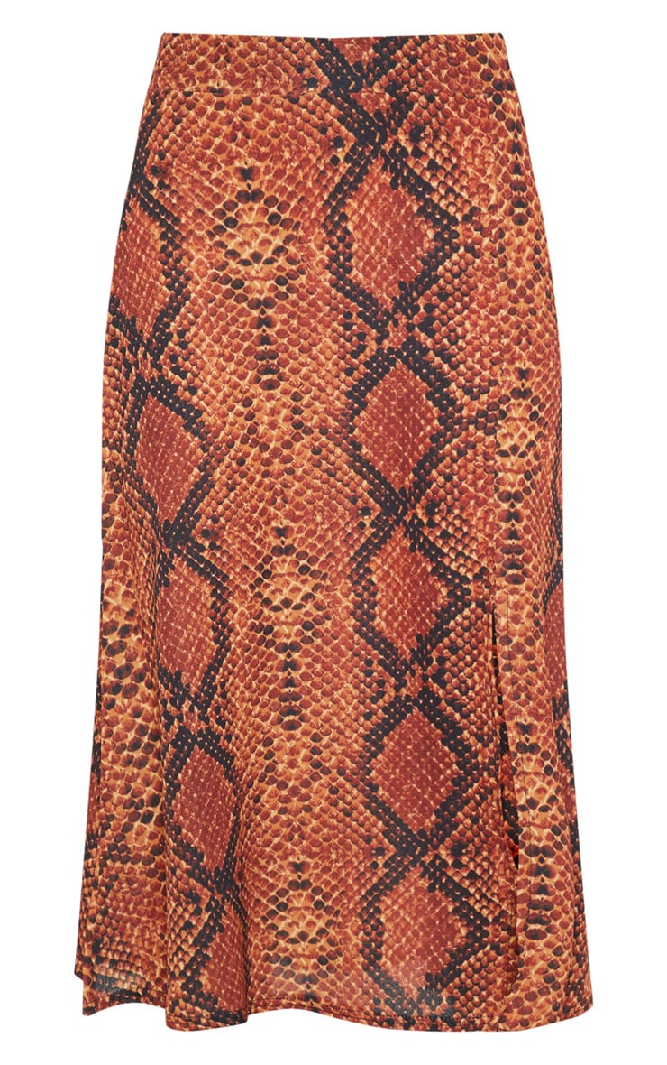 Red Snake Print Floaty Midi Skirt 3