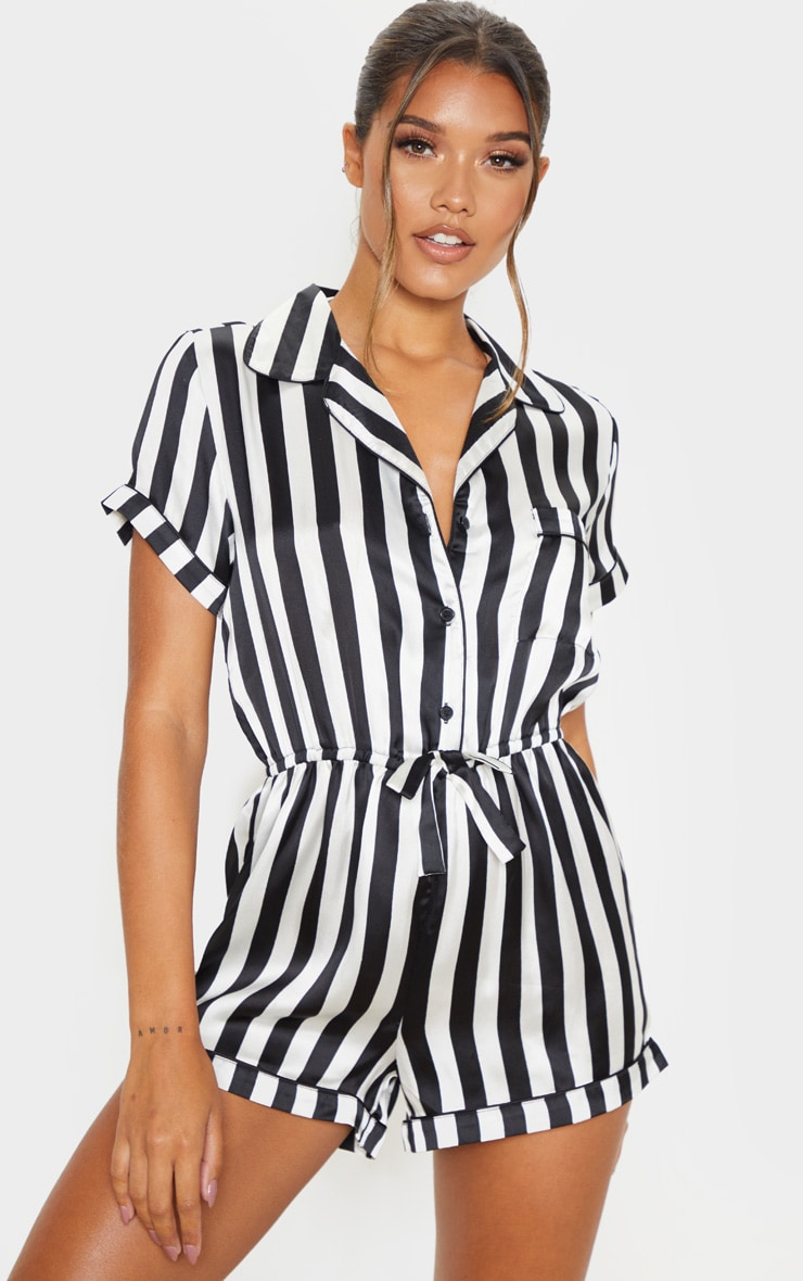Black And White Button Front Satin Romper 1