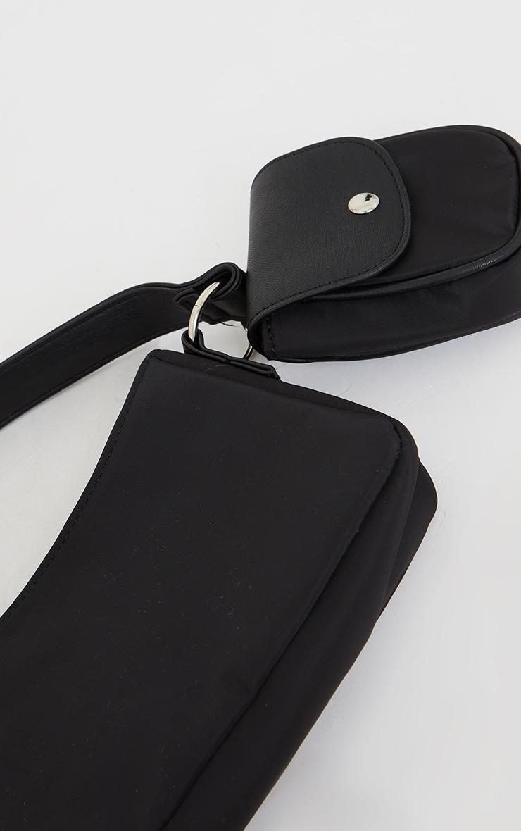 Black Nylon Mini Pocket Shoulder Bag 4
