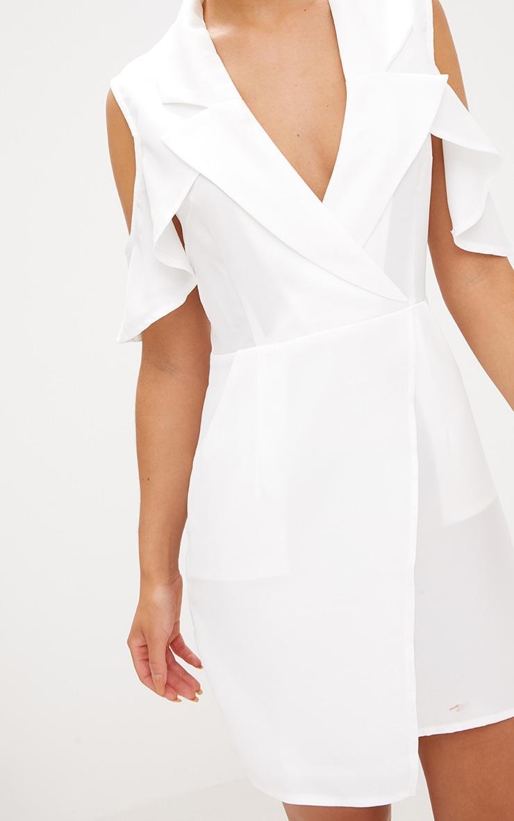White Cold Shoulder Wrap Over Blazer Dress 4