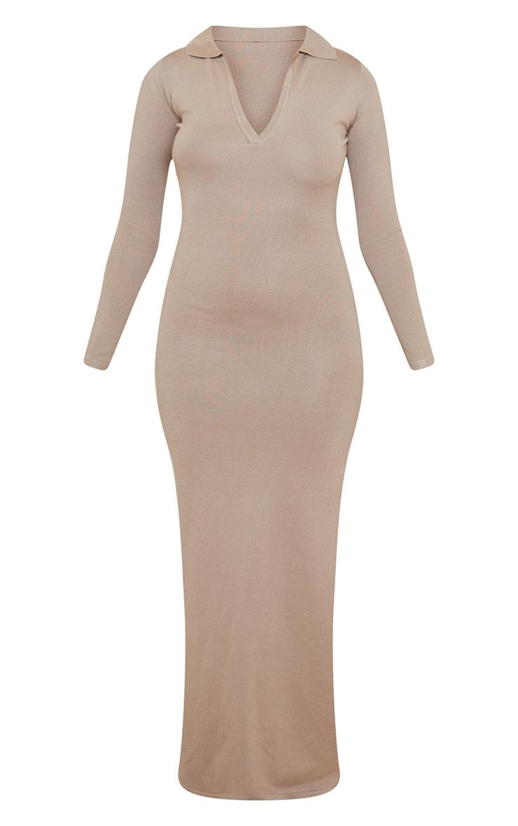 Stone Collar Detail Maxi Side Split Knitted Dress 5