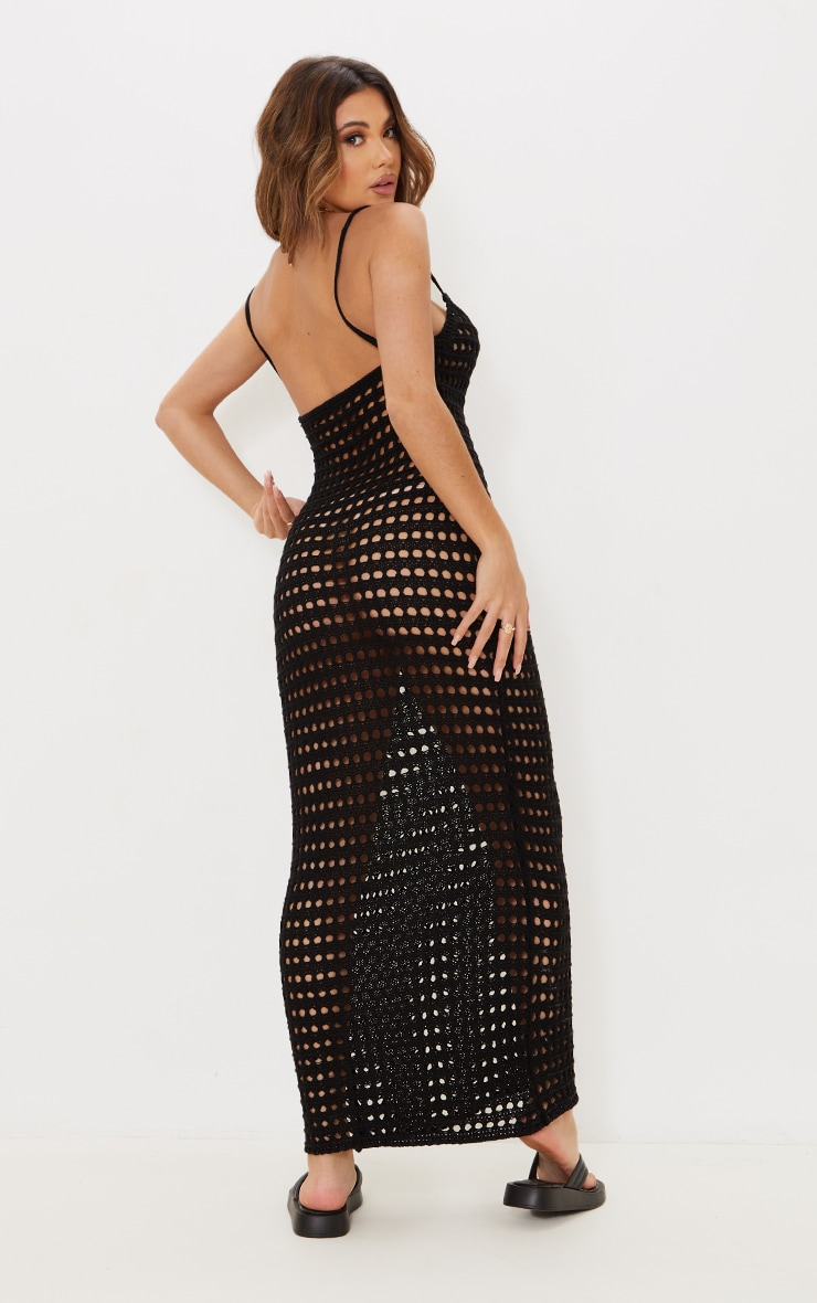 Black Strappy Crochet Maxi Dress 2