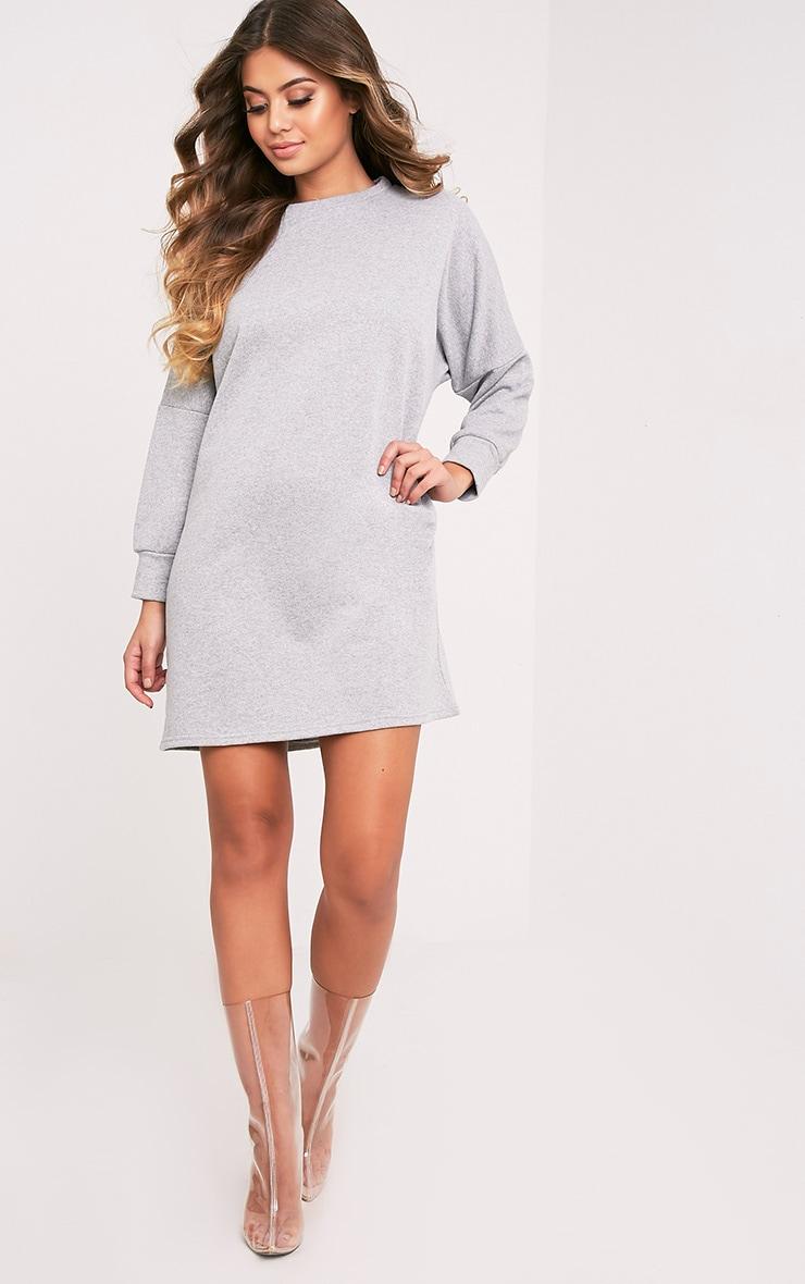 Laine robe pull surdimensionnée grise 5