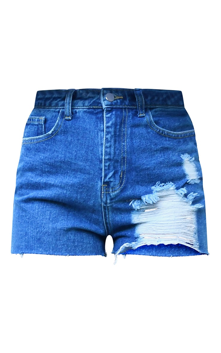 Ecru Button Waist Denim Shorts 8