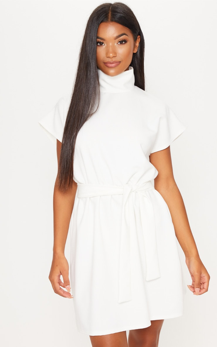 cb5aeefd518 White High Neck Belted Skater Dress image 1